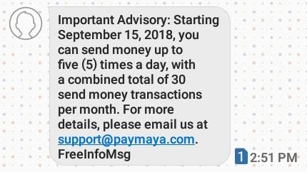 PayMaya 15 AUG 2018 Advisory